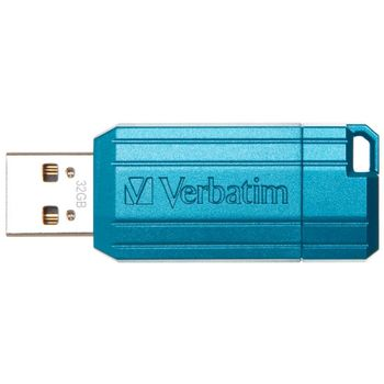 32GB USB2.0  Verbatim PinStripe, Blue, Push and Pull Sliding feature (Read 12 MByte/s, Write 5 MByte/s)