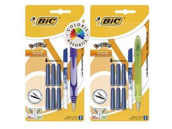 Набор ручка перьевая + резинка + 6 картрижей BIC Easy Clic