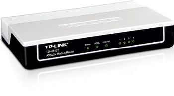 TP-LINK TD-8840T, 4 ethernet ports ADSL2+ router with bridge and NAT router, Trendchip chipset, ADSL/ADSL2/ADSL2+, Annex A, with ADSL spliter, Built-in 4-port Switch