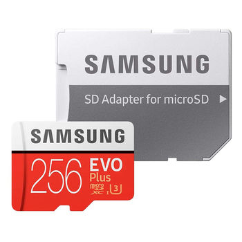256GB Samsung EVO Plus MB-MC256HA/RU microSDXC (Class 10 UHS-I) with Adapter, Read:up to 100MB/s, Write:up to 90MB/s (card de memorie/карта памяти)