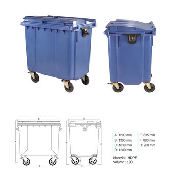 купить Бак мусорный 1100 л  пластик  - на колесах (синий)  UNI в Кишинёве