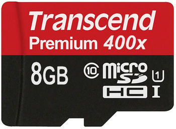 Transcend 8GB microSDHC Class10 UHS-I, 300x, Up to: 45Mb/s