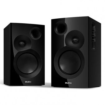 "SVEN SPS-635 Black,  2.0 / 2x20W RMS, headphone jack, wooden, (3""+1"")"