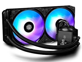 "DEEPCOOL Liquid Cooler  ""CAPTAIN 240 EX RGB"", Socket 775/1150/1151/2011 & AM4/FM2/AM3, up to 220W, 2x TF120 fan, RGB variable lighting system, fans: 500~1800rpm, pump: 2200rpm, 17.6~31.3dBA, 153.04CFM, 4 pin, Hydro Bearing, Copper base"