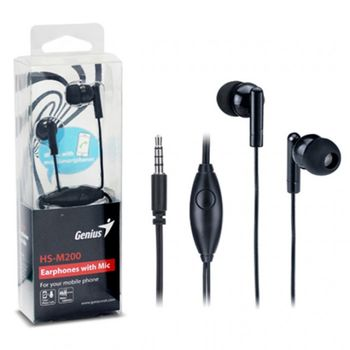 Genius HS-M200, Black, Earphones with Microphone, call button (instantly switch between calls and music)