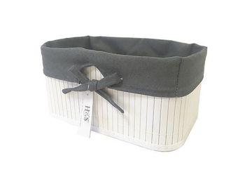 Корзина плетеная 23.5X13cm H12cm белая, с черной тканью