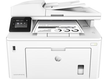 HP LaserJet Pro MFP M227fdw Print/Copy/Scan/Fax 28ppm, 256MB, up to 30000 monthly, 6.8cm  touch screen, 1200dpi, Duplex, 35 sheets ADF, Hi-Speed USB 2.0, Fast Ethernet 10/100Base-TX, WiFi 802.11b/g/n, HP ePrint, Apple AirPrint™, White, CF230A (1,600p