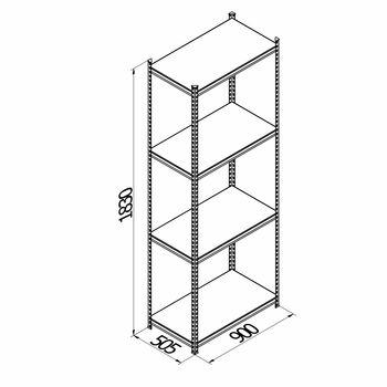 cumpără Raft metalic galvanizat cu placă din plastic Gama Box 900Wx505Dx1830H mm, 4 polițe/PLB în Chișinău