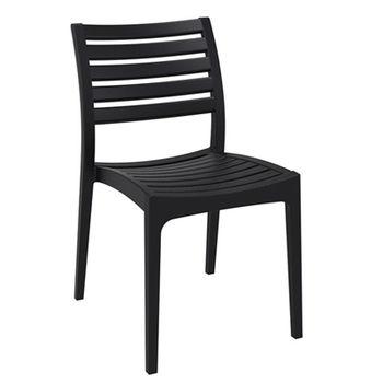 купить Стул из пластика с горизонтальными решетками на спинке и сиденье, черный в Кишинёве