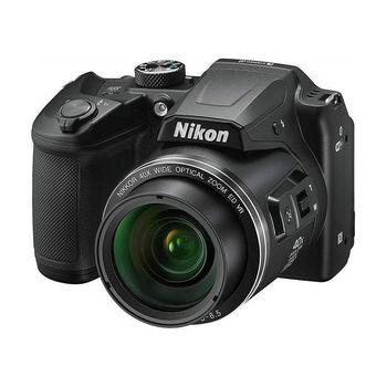 "NIKON Coolpix B500 Black, 16.0 MP 1/2.3"" BSI CMOS Sensor, NIKKOR f/3.0-6.5mm ED Lens, 22.5-900mm (35mm Equivalent), 40x Optical Zoom Lens, 80x Dynamic Zoom, 3"" 921k-Dot Tilting LCD, Full HD 1080p Video Recording at 30 fps, Bluetooth (BLE), Wi-Fi, VNA951E1"