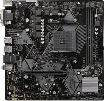 ASUS PRIME B450M-K, Socket AM4, AMD B450, Dual 2xDDR4-3200, APU AMD graphics, VGA, DVI, 1xPCIe X16, 4xSATA3, RAID, 1x M.2 slot, 2xPCIe X1, ALC887 7.1ch HDA, GbE LAN,  2xUSB3.1 Gen 2, 6xUSB3.1, 5X Pro.III, mATX