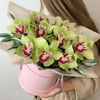 Зелёные орхидеи в коробке