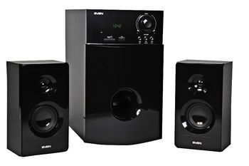 "Speakers SVEN MS-2000 Black,  2.1 / 18W + 2x11W RMS, FM-tuner, USB & SD card Input, Digital LED display, built-in clock, set the switch-off time, remote control, all wooden, (sub.5.25"" + satl.3.15"")"