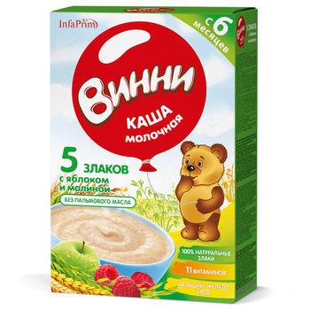 cumpără Vinni Terci Lapte 5 Cereale cu mere și zmeură 200g în Chișinău