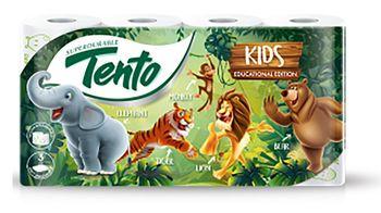 Туалетная бумага TENTO 3 слоя 17м*8 KIDS ANIMAL