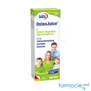 купить OsteoJuice+Ca+Mg+Zn+Vitamina D sirop 200ml EuRho Vital в Кишинёве