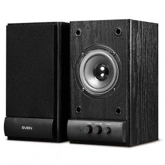 "Speakers SVEN SPS-607 Black,  2.0 / 2x3W RMS, wooden, 3"""