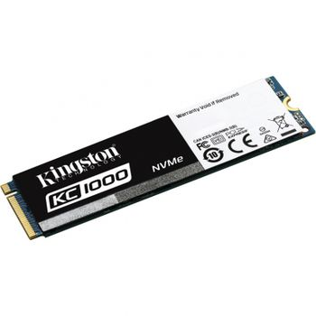 M.2 NVMe SSD 480GB Kingston KC1000, Interface: PCIe3.0 x4 / NVMe1.2, M2 Type 2280 form factor, Sequential Reads 2700 MB/s, Sequential Writes 1600 MB/s, Max Random 4k Read 290,000 / Write 190,000 IOPS, Phison PS5007-E7 controller, NAND MLC