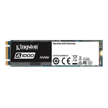 M.2 NVMe SSD 240GB Kingston A1000, Interface: PCIe3.0 x2 / NVMe1.2, M2 Type 2280 form factor, Sequential Reads 1500 MB/s, Sequential Writes 800 MB/s, Max Random 4k Read 100,000 / Write 80,000 IOPS, Phison E8 controller, NAND 3D TLC