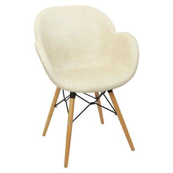 купить Пластиковый стул с обивкой, деревянные ножки 600x580x840 мм, бежевый в Кишинёве