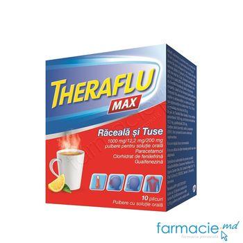 купить TheraFlu MAX Raceala si Tuse 1000mg/12,2mg/200mg pulb.sol.orala  N10 в Кишинёве