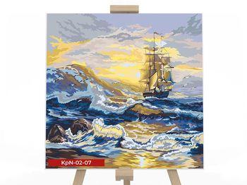 Картина по номерам 40х40 Корабль на волнах