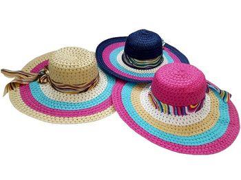 Palarie de vara pentru dame D45cm, cu cercuri multicolore si fundita