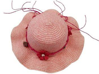 Шляпа детская летняя D28cm, с тесьмой и цветами