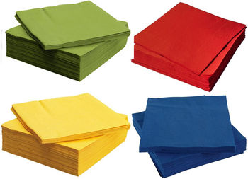 Салфетки столовые 100шт. 32*30 (красные, желтые, зеленые)