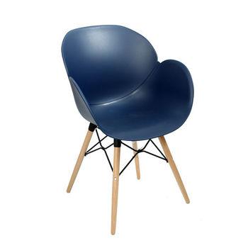 купить Пластиковый стул, деревянные ножки с металлической опорой 590x580x850 мм, голубой в Кишинёве