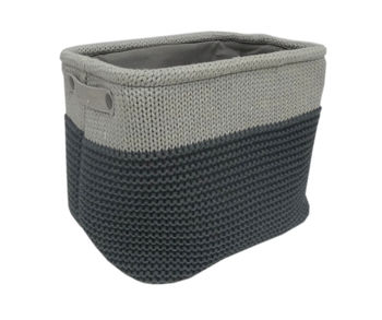 cumpără Coș tricot 360x260x300 mm, negru + gri în Chișinău