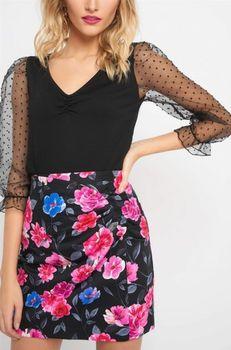 Юбка ORSAY Черный в цветочек