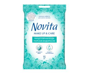 купить Влажные салфетки с комплексом натуральных масел Novita Make Up&Care, 15 шт. в Кишинёве
