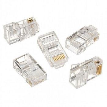 """RJ45 Modular Plug  LC-8P8C-001/100, Modular plug 8P8C for solid LAN cable, 30u"""" gold plated, 100 pcs/bag"""