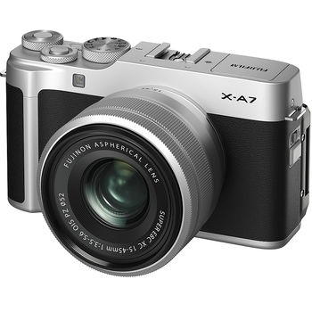 Fujifilm X-A7 Silver XC15-45mm kit, Mirrorless Digital Camera Fujifilm X System (Aparat fotografic)