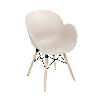 купить Пластиковый стул, деревянные ножки с металлической опорой 590x580x850 мм, коричневый в Кишинёве