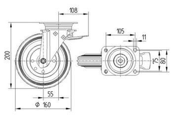 купить Колесо поворотное полипропилен с тормозом Ø 160 - 70930160 в Кишинёве