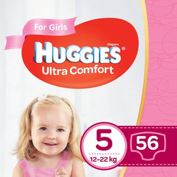 купить Подгузники для девочек Huggies Ultra Comfort 5 (12-22 kg), 56 шт. в Кишинёве