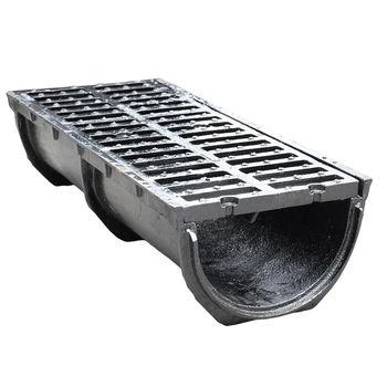 купить Решетка канализационная с лотком чугунная 750 х 300 x 190мм 41кг EN124 D400 (с закругленным дном) в Кишинёве