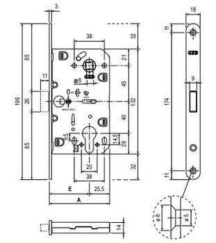 Замок под евроцилиндр  AGB Polaris 2XT + oтветная планка EASY-MATIC XT матовый хром