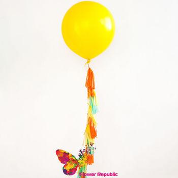 купить Большой латексный желтый шар 91 см с гирляндой тассел в Кишинёве