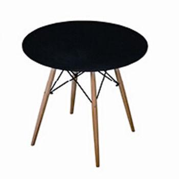 cumpără Masă rotundă cu suprafaţa din MDF, picioare din lemn, 800x720 mm, negru în Chișinău
