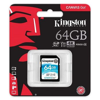 64GB SD Class10 UHS-I U3  Kingston Canvas Go, Ultimate, 633x, Read: 90Mb/s, Write: 45Mb/s, Water/Shock and vibration/Temperature proof, Protected from airport x-rays, Ideal for DSLRs, drones and other SD-card-compatible action cameras