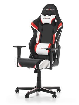Gaming Chairs DXRacer - Racing GC-R288-NRW-Z1, Black/Red/White - PU leather, Gamer weight up to 100kg / growth 165-195cm, Foam Density 50kg/m3, 5-star Aluminum IC Base, Gas Lift 4 Class, Recline 90*-135*, Armrests: 3D, Pillow-2, Caster-2*PU, W-23kg