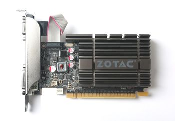 ZOTAC GeForce GT710 Zone Edition 2GB DDR5, 64bit, 954/5010Mhz, Passive Cooling, HDCP, DVI, HDMI, VGA, 2x Low profile bracket included, Lite Pack