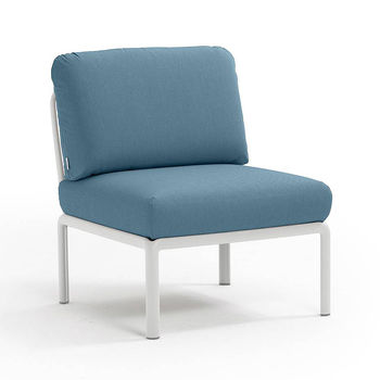 Кресло модуль центральный с подушками Nardi KOMODO ELEMENTO CENTRALE BIANCO-adriatic Sunbrella 40373.00.142