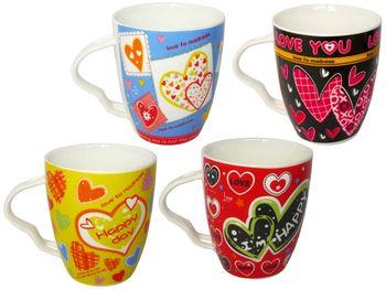 "купить Чашка с узором ""Love"" 380ml, ручка-сердце в Кишинёве"