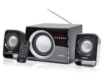 Active Speakers SVEN MS-300 Black, mini music system: FM Tuner, USB port, SD slot ( 2.1 surround, RMS 12W, 6W subwoofer, 2x3W Satellites ) (boxe sistem acustic/колонки акустическая сиситема), www