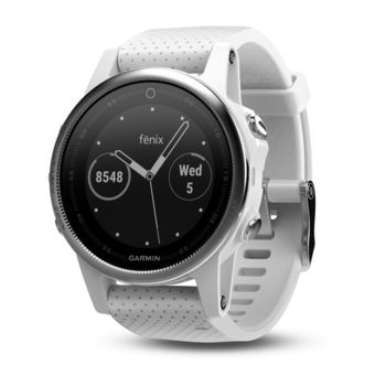"GARMIN fenix 5S Slate Silver with Carrara white band, Multisport GPS Watch for Sport, 1.2"", Water rating 10ATM, Battery life Smart mode: Up to 2 weeks, 64MB, GPS,Compass, Bluetooth, Smart, ANT+, Smart notifications and Activity Tracking Features,156g"