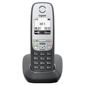 "DECT/GAP Phone Gigaset A415 Black/Silver, Alphanumeric B/W illuminated TFT 1.8"", AOH, Caller ID, Handsfree,Large numbers,illuminated keyboard,Standby time up to-200h,Talk time up to-18h, Phonebook #100,up to 4 handsets,Handset 151x47x31, 2 x NiMH AAA"